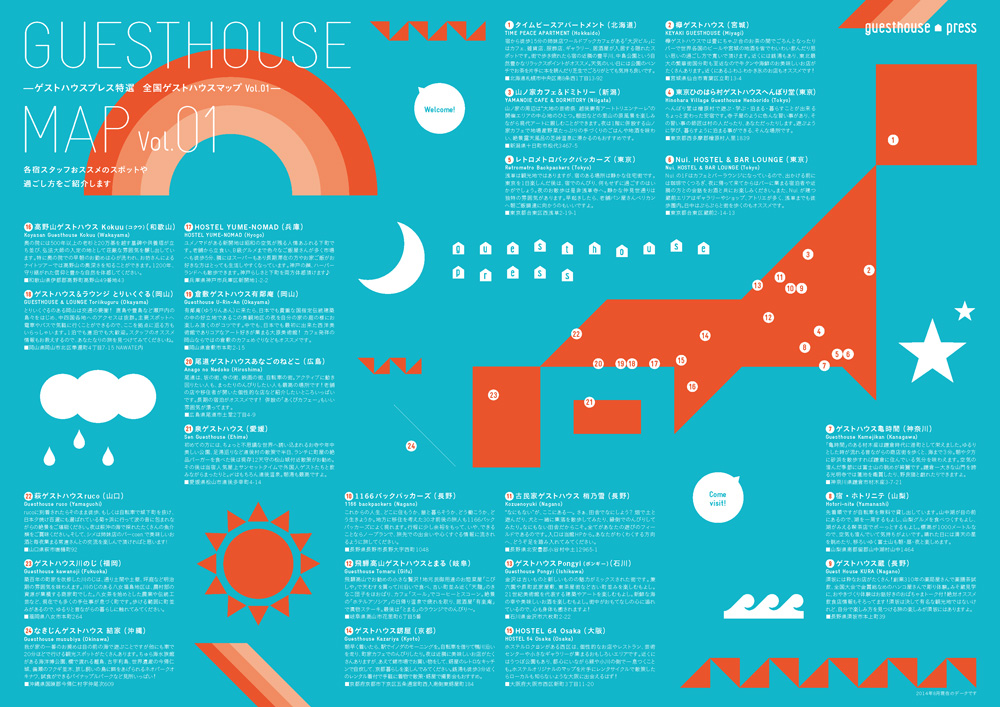 Guesthouse MAP 2014年発行Vol.1 上記24宿が一覧になっています